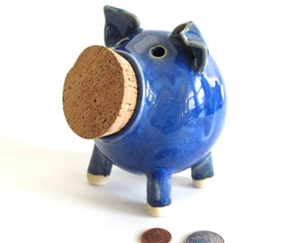 Ceramic Piggy Bank, Pottery Piggy Bank, Handmade Piggy Bank, Blue Piggy Bank, Pottery Coin Bank, Ceramic Coin Bank, Ceramic Pig, Pottery