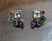 SWAROVSKI Signed Swan Multi Coloured Vintage Clear Red Blue Green Purple Crystal & Gold Earrings