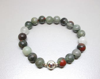 Bloodstone bracelet, stone of motivation, vitality, growth, renewal, healing crystals, healing stones, heliotrope, prosperity stone, crystal