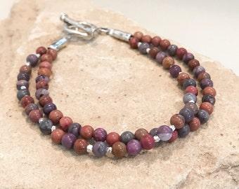 Purple bracelet, mojave stone bracelet, fall bracelet, Hill Tribe silver bracelet, sundance style bracelet, gift for her, double strand