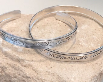 Sterling silver heart bangle bracelet, sterling silver cuff bracelet, wide pattern bangle or cuff bracelet, stackable silver bracelet