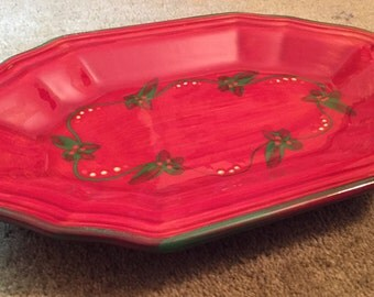T COMME TERRE de PROVENCE French Dish Hand Painted - Christmas Holly Plate Serving Dish | Plate