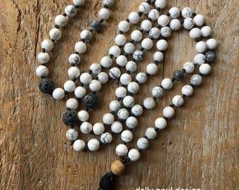 Howlite, Tibetan Prayer Beads, Prayer Beads, White Necklace, Lava Diffuser, Energy Stones, Mala, Maala, 108 Beads, Meditation Beads, Tassel