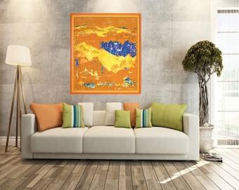 Giclée canvas print, abstract landscape art print, modern painting, wall art, orange blue, yellow art, wall interior decor, Morocco motif