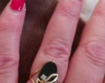 10K Gold Onyx Diamond Ring
