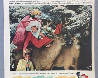 1957 Canada Dry Ginger Ale Print Ad - Christmas