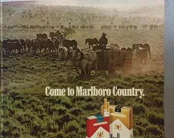 "1979 Marlboro Cigarette Centerfold Print Ad - ""Come to Marlboro Country"""