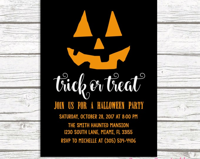 Halloween Party Invitation, Jack O Lantern Halloween Invitation, Pumpkin Halloween Invitation, Black and Orange Halloween Party Invitation