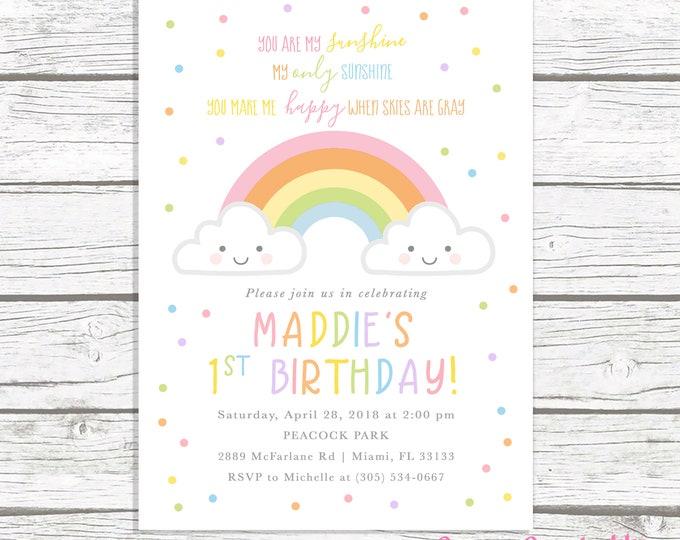 You Are My Sunshine Birthday Invitation Girl, Rainbow Birthday Invitation, Our Little Sunshine, Cloud Invitation, First 1st Birthday Invite