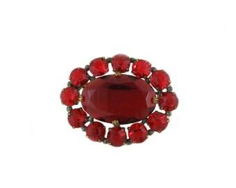 Vintage Red Oval Brooch