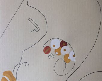 """Watercolor, painting 15x21cm, original artwork, """"Perspective"""""""