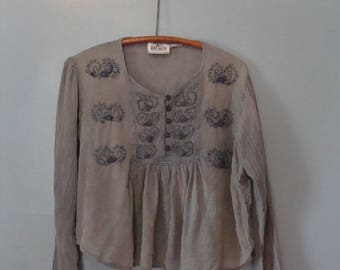 Vintage Peasant Top 90's does 70's Embroidered Blue Gray Long Sleeve Flowy Babydoll India Gauzy Cotton 1990's Boho Bohemian Gypsy Hippie