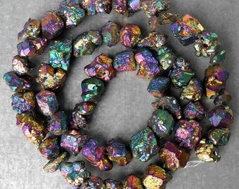 iridescent crystal beads - 7 - 9 mm - transparent, with rainbow
