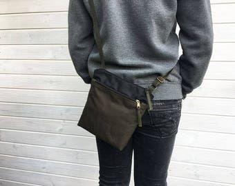 Black forest waxed canvas crossbody bag, Unisex vegan day bag, Solid waxed canvas bag
