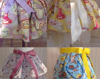 Tutu for Tea  daughter aprons choice yellow gray blue purple tea cup sparkle and shine tulle ballerina tutu ribbon ties ricrac pocket