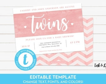 Twin Girl Baby Shower Invitation - Twin Shower Invitation - Digital Shower Invitation - Printable Invitation - Invitation for Twin Girls