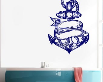 Wall Vinyl Decal Sea Nautical Marine Anchor Engraved Style Decoration for Yacht Decor (#2604dn)