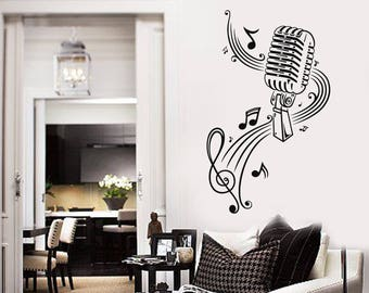 Vinyl Wall Decal Microphone MIC Music Musical Notes Art Room Decor Stickers Mural (#2535di)