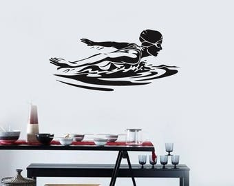 Swimming Vinyl Wall Decal Female Swimmer Woman Water Sport Stickers Mural (#2565di)