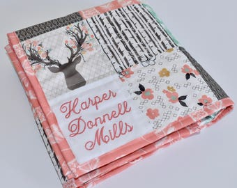 Personalized - Crib or toddler size Woodland Baby Quilt, Woodland Nursery, Minky, Blanket, deer, fawn, doe, going stag, coral, gold, floral