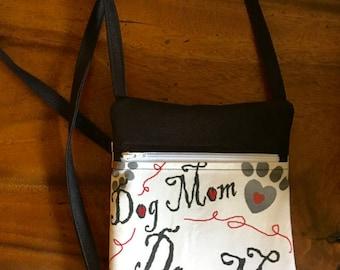 Crossbody bag, cell phone bag, Dog Mom  and Dog Paw print, handmade