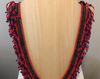 Amazing Beaded Fringe Necklace Handmade