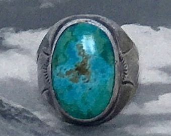 Navajo Sterling Silver and Turquoise Native American  Ring Sz 9