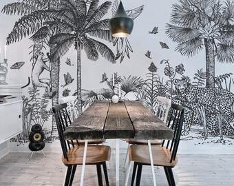 Safari Removable Wallpaper, Peel and stick tropical wall mural, Black and white wall art, Repositionable wallpaper, Safari, Jungle  #52