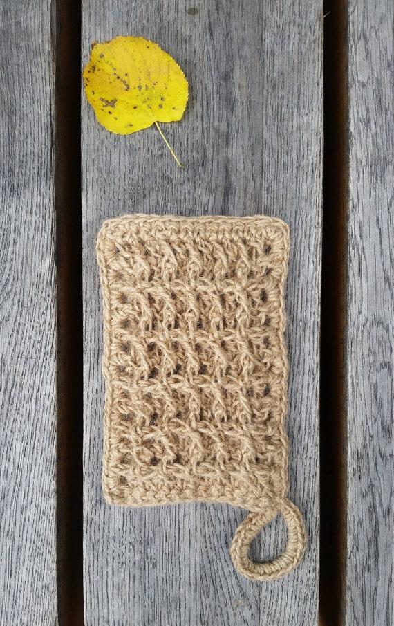 "BATH MITT "" Chocolate"", NATURAL crochet bath/shower sponge, 100 % natural jute, Eco-friendly"