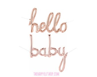 Hello Baby rose gold script balloons. rose gold balloons.  baby balloon. baby shower decor. baby spritz decor. baby balloon. baby script