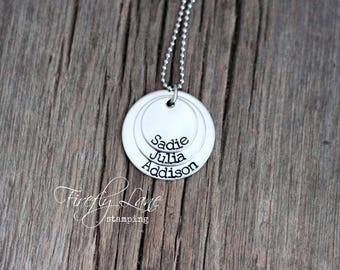 Stacked disc mommy necklace, 3 names on 3 discs, personalized and hand stamped
