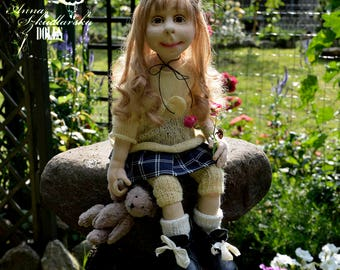 Handmade Doll- Nina -55cm (NO 24'17) - textile doll- fabric doll- rag doll- home decoration- handmade toy-cloth dolls-fabric dolls