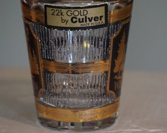 Vintage Culver Ltd. Wisconsin Shot Glass/ Collectible Shot Glass/ 22k Gold/ Black and Gold