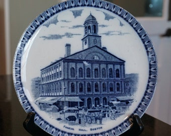 Antique Flow Blue Faneiul Hall Souvenir Plate/ Boston/ 1880's-1890's/ England/ Blue and White China/ Collectible