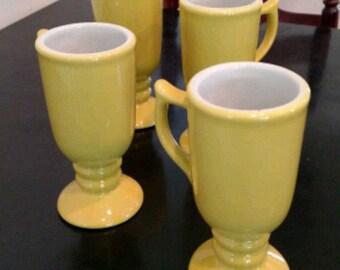 Set of 4 Yellow Sterling Vitrified China Irish Coffee Mugs/ Yellow/Buttercup Yellow