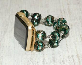 Apple watch band 42mm / 38mm // lampwork glass beads iwatch band apple watch accessories - apple watch strap