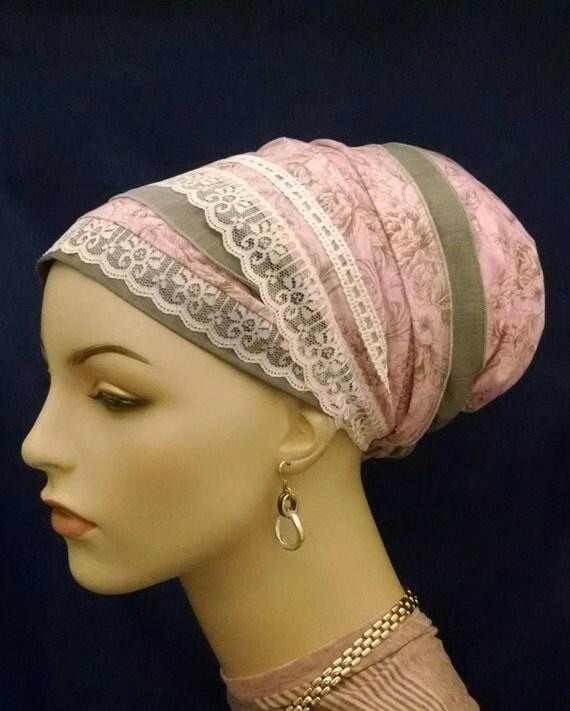 Romantic pink lace sinar tichel, tichels, apron tichels, head wraps, chemo scarves, mitpachat