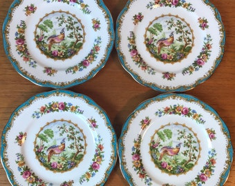 "Royal Albert ""Chelsea Bird"" Vintage Plates, Blue Border Pheasant Side Plates, Bread and Butter Plates, Bone China"