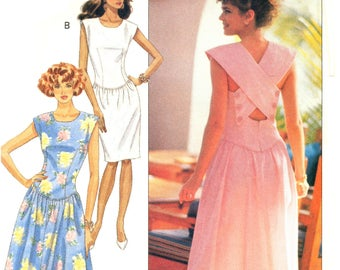 80s Butterick 4083 Kathryn Conover Drop Waist, Crossover Back Dress with Tapered or Flared Skirt, Uncut, F/Folded, Sewing Pattern Size 6-10