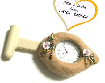 Uniquely Felted Watch Brooch, Beaded Watch Brooch,Unique Style gift, Original Designer Watch Brooch, Specialty Gift, Free local Shipping