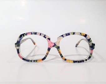 Vintage 60s 70s Psychedelic Glasses, NOS, Cool Oversize Eyeglasses, Multi Color New Old Stock, Large Oversized Funky Hipster Sunglass Frames