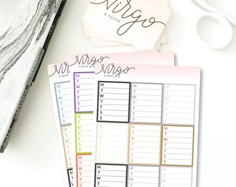 Monday-Sunday Weekly List Sidebar Stickers - Full Box Weekly List Planner Stickers - Choose Glossy or Matte Planner Stickers SMS