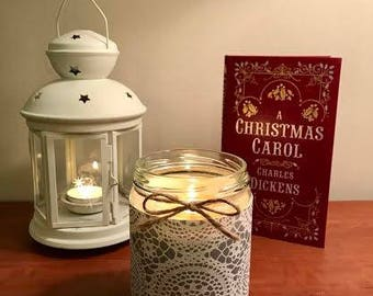 10% OFF!!! - White Birch Candle - Natural Soy Candle - Christmas Candle - 13oz - silver lace paper