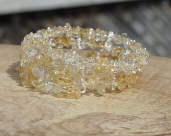 Citrine Stone Bracelet ~ Memory Wire Bracelet ~  Yellow Stones ~ Silver Snowflake Beads  ~ Semi Precious Stone Jewelry ~ Irregular Stones