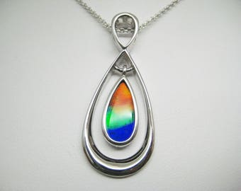 Beautiful Triple colour AAA quality Ammolite Sterling Silver pendant
