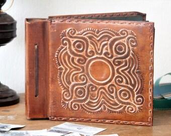 Embossed Leather Album - Photo Album - Wedding Album - Vintage Leather Photos Cover - Tooled Leather Album - Family Album - Large Album