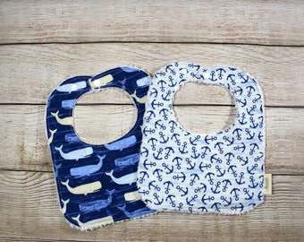 Baby Gift Set, Nautical, Blue Whales, Distressed Anchors, Baby Boy Bibs
