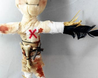 Voodoo Protector-OOAK-wallhanging-art doll-decoration-poppet-voodoo-primitive-home protector-art soul-idol-grungy-gift ideas