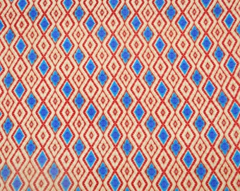 """Beige Fabric, Ikat Print, Cotton Fabric, Sewing Craft Accessories, 43"""" Inch Designer Fabric By The Yard ZBC8885A"""