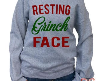 Christmas sweater. Christmas sweatshirt. Off the shoulder. Resting Grinch Face. Christmas gift for her. Diy Handmade Holiday gift. for her.